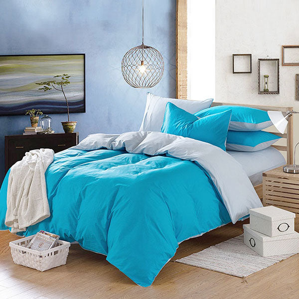 100% Cotton 3/4 Pieces Bedding Sets Sky Blue Reactive Dyeing Duvet Cover Flat Sheet Pillow Case Set