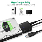 E-yield USB to SATA Cable 2.5'' 3.5'' HDD SSD Hard Drive Converter Cable USB3.0 SATA with UASP Data Cable