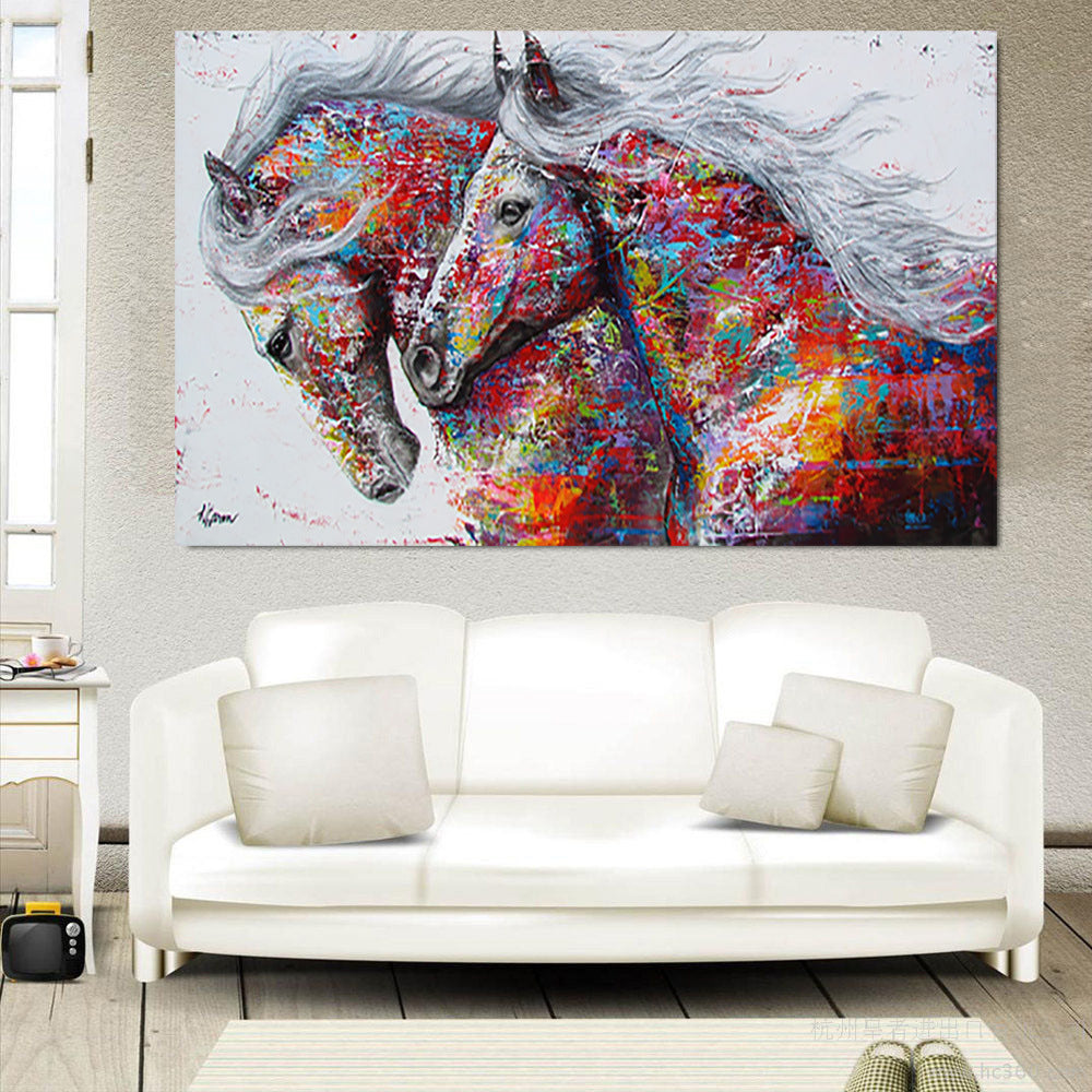 Canvas Running Horse Art Print Paintings Frameless Wall Picture Colorful Poster for Living Room Home Decor