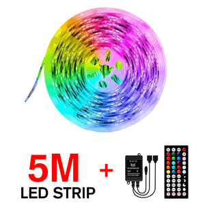 5M/10M 3528 SMD RGB LED Strip Light Sync Music Control Non-waterproof String Lamp+ 44Keys IR Remote Controller