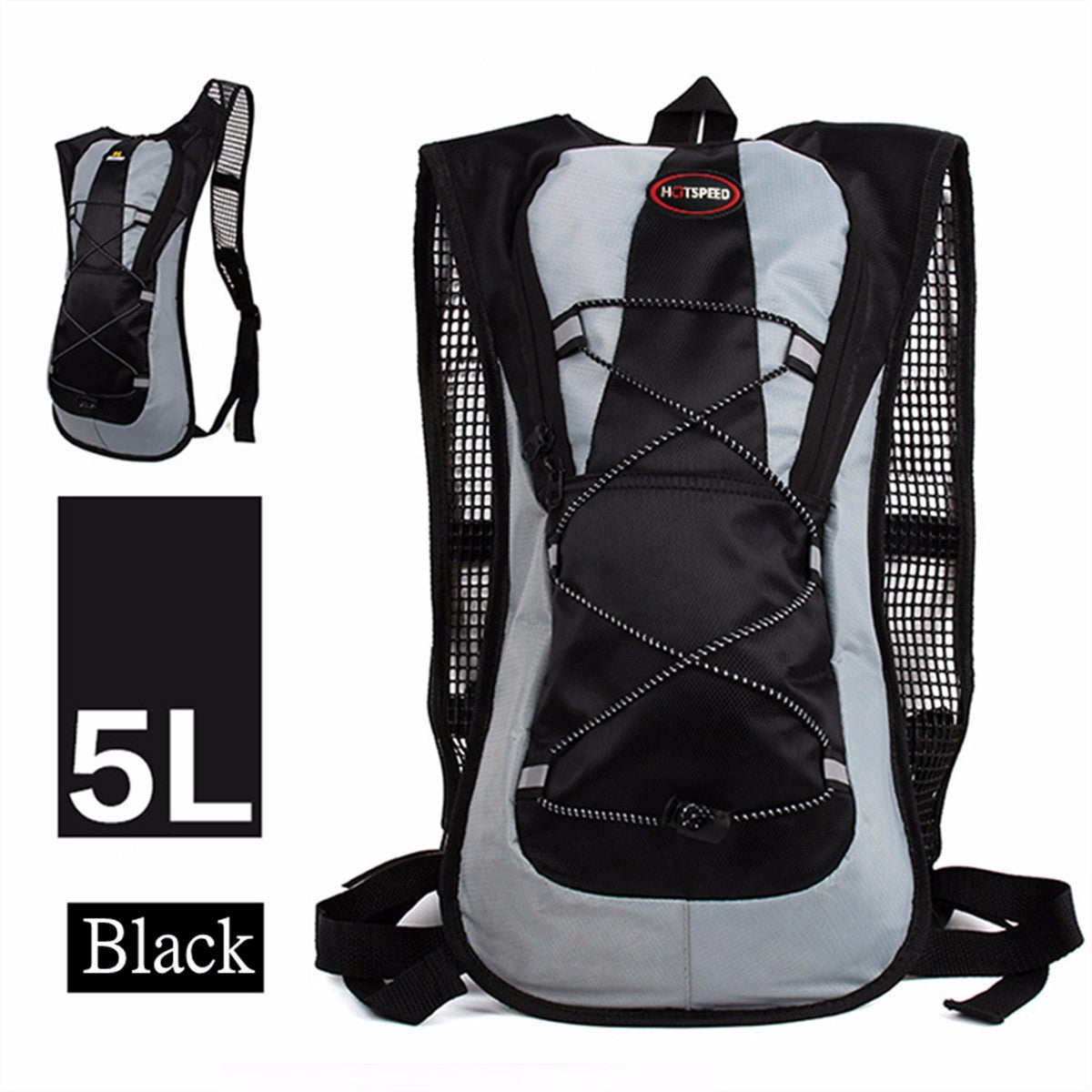 IPRee 5L Running Hydration Backpack Rucksack 2L Straw Water Bladder Bag For Hiking Climbing