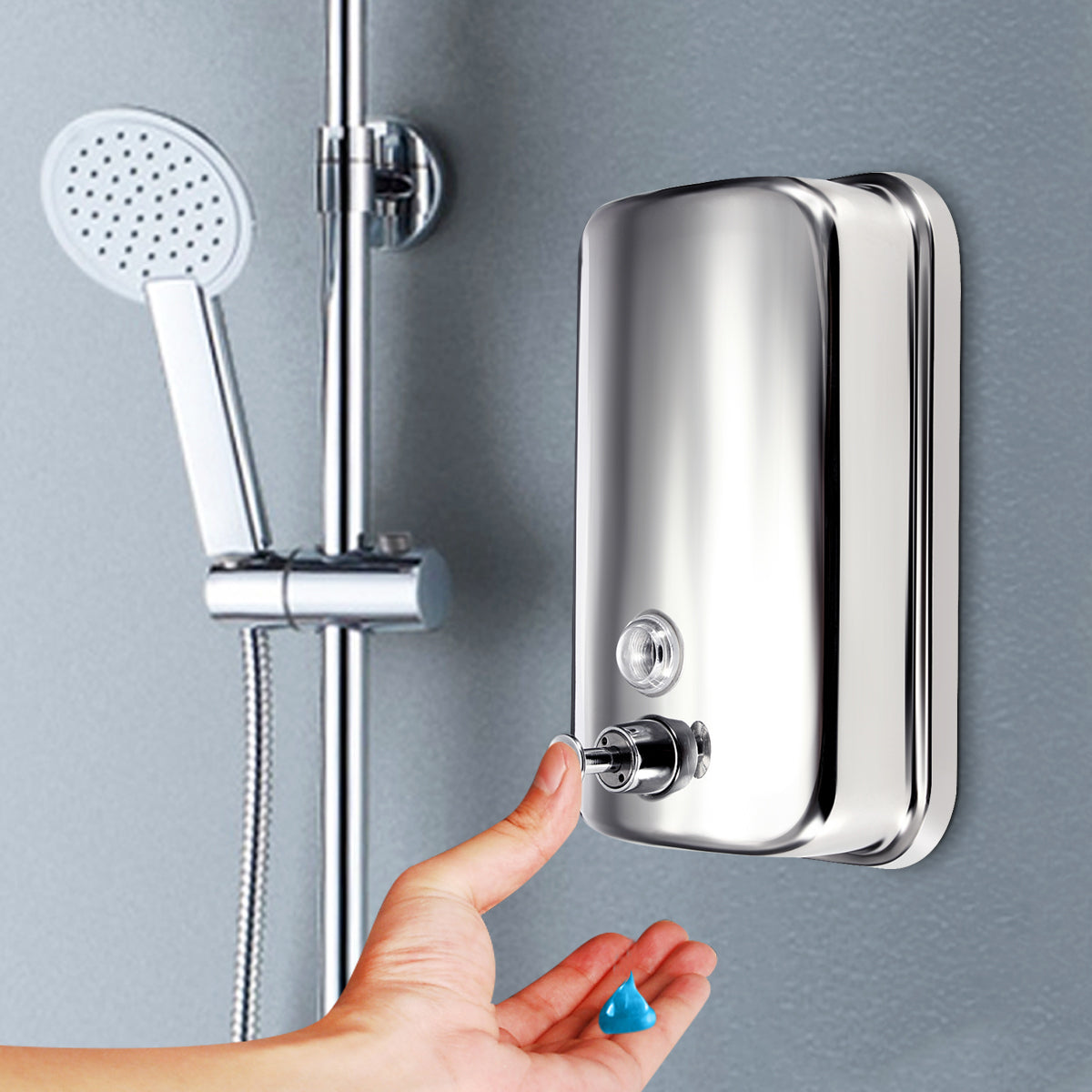 500/800/1000ml Stainless Steel Wall-mounted Liquid Soap Dispenser Shower Body Wash Shampoo Hand Sanitizer Dispenser Box for Hotel Batehroom Kitchen