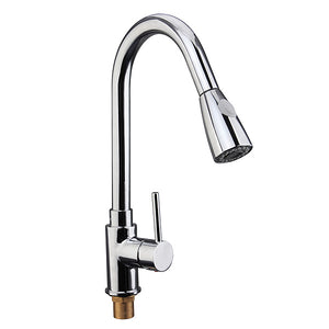 Pull Down Sprayer Kitchen Sink Faucet Hot Cold Mixer Water Tap 2 Spray Mode Single Handle Polished Chrome