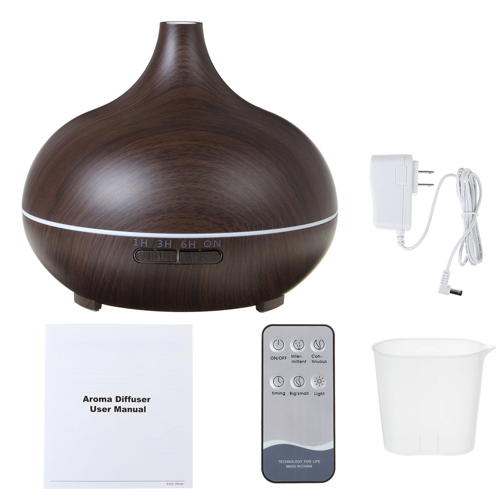 550ML Aroma Air Humidifier Wood Grain with LED Lights