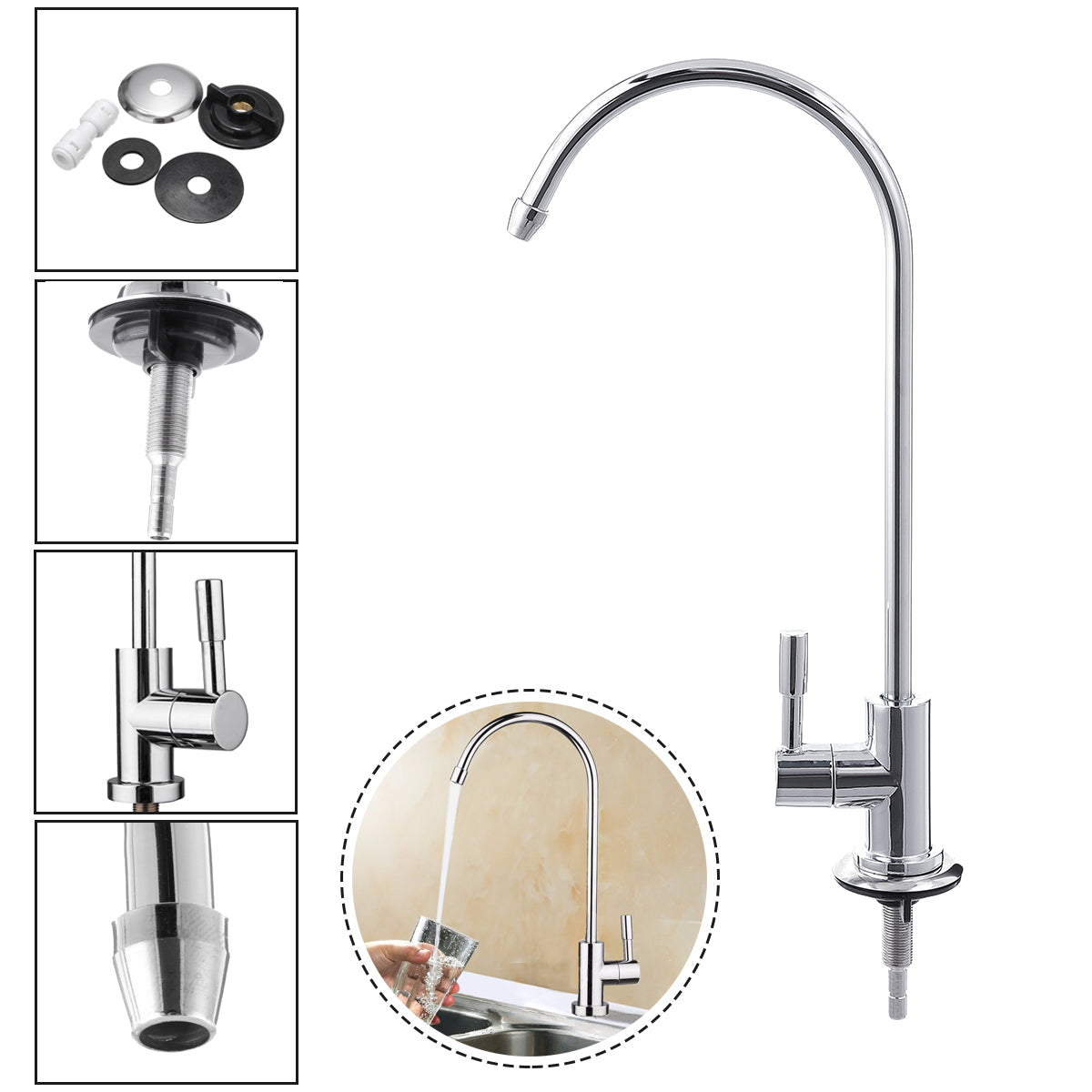1/4 Inch Chrome Drinking RO Water Filter Faucet Finish Reverse Osmosis Sink Kitchen