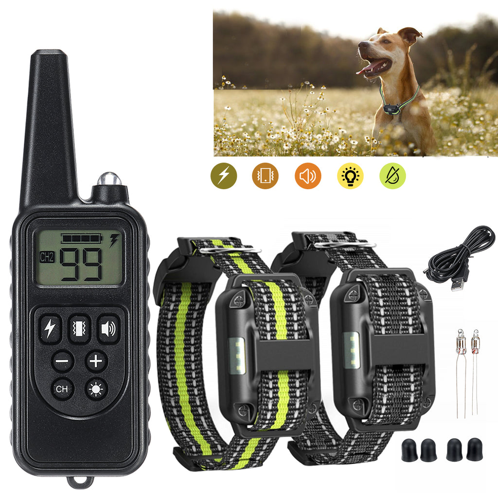 800m Wireless Remote Control LCD Display USB Rechargeable Dog Bark Collar Electric Shock Pet Trainer For 1-2 Dogs, US/EU/UK Plug