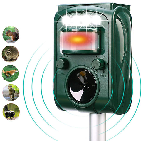 KCASA KC-501 Garden Solar Powered Ultrasonic Outdoor Animal Pest Repeller Motion Sensor Flash Light Dog Cat Raccoon Rabbit Animal Dispeller