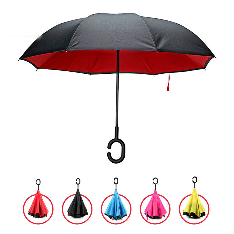 KCASA UB-1 Creative Reverse Double Layer Umbrella Folding Inverted Windproof Car Standing Rain Protection