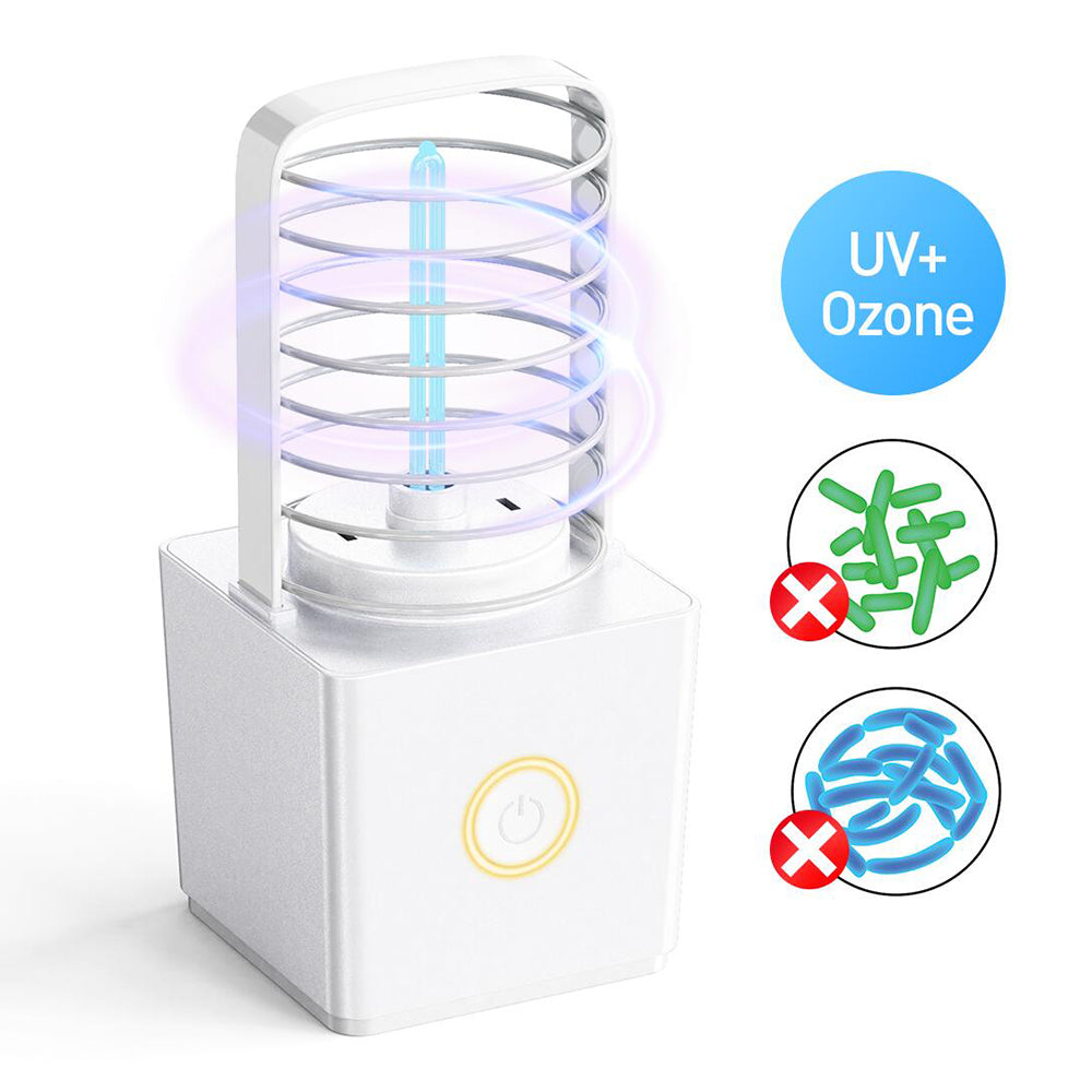 ZW03 Portable UV Ozone Germicidal Lamp Double Sterilization Light Wireless USB Charging 20㎡ Area Sterilizer Light Lamp for Car Baby room Bedroom Kitchen Bathroom