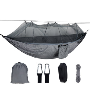 1-2 Person Portable Outdoor Camping Hammock with Mosquito Net High Strength Parachute Fabric Hanging Bed Hunting Sleeping Swing Max Load 300KG