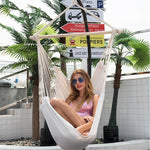 Single People Cotton Canvas Hammock Chair Swing Hanging Chair with Pillow Hook Stick Outdoor Garden Camping Home
