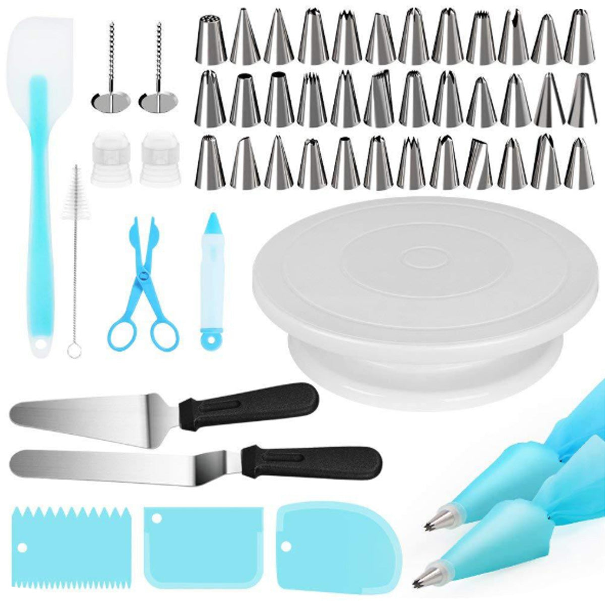 52Pcs/set Tool Cake Decorations Set Gift Kit Baking Supplies Turntable Spatula Stand Diy Equipment for Kids Home