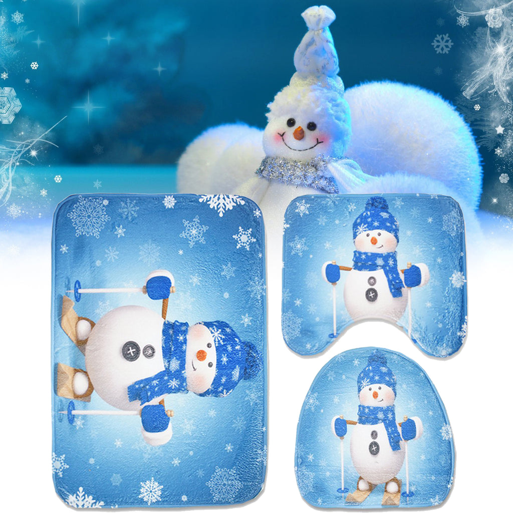 3pcs Set Christmas Snowman Toilet Seat Covers Bathroom Carpet No-Slip Rug Xmas Decor