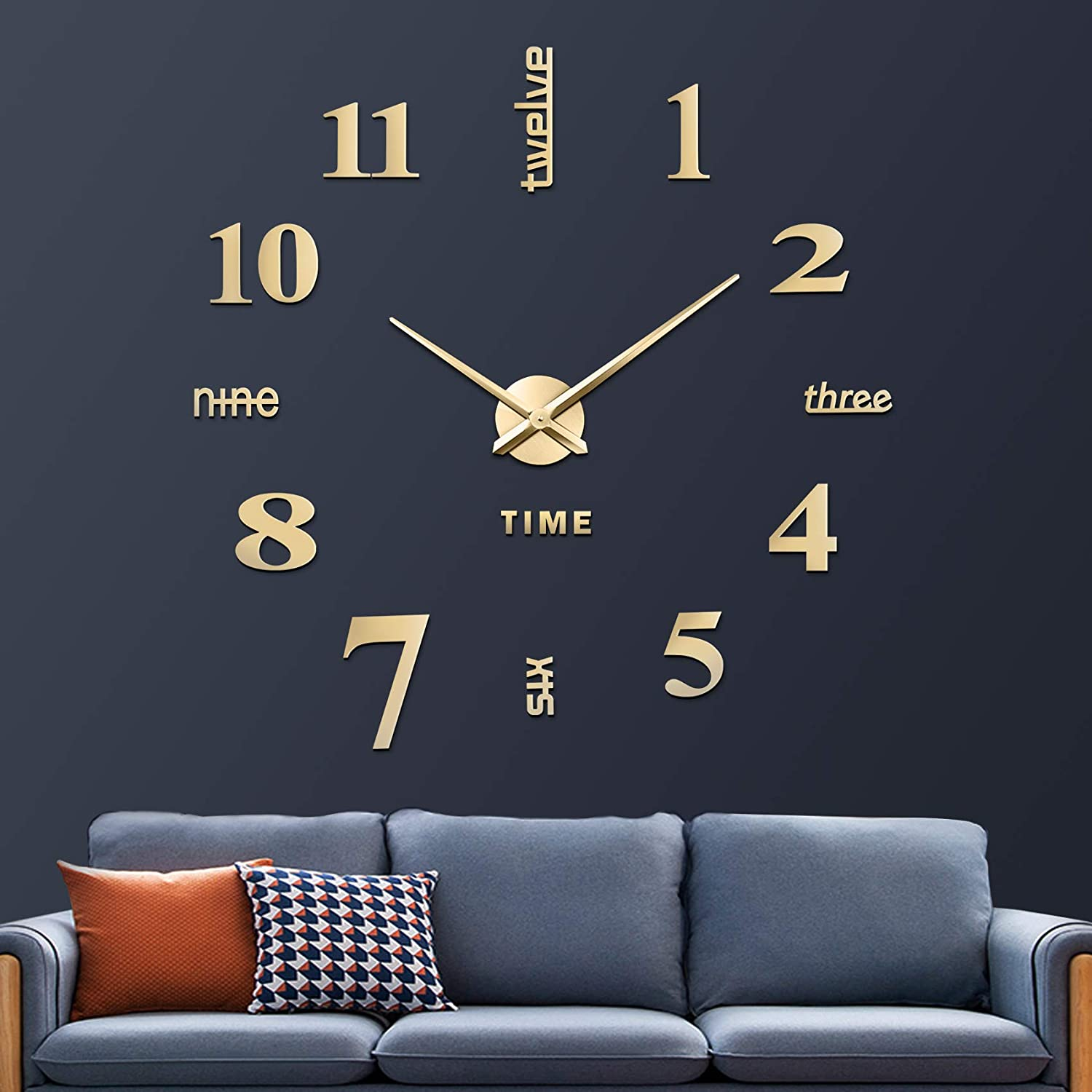 CreationStore Mirror Surface Decorative Clock 3D DIY Wall Clock for Living Room Bedroom Office Hotel Wall Decoration