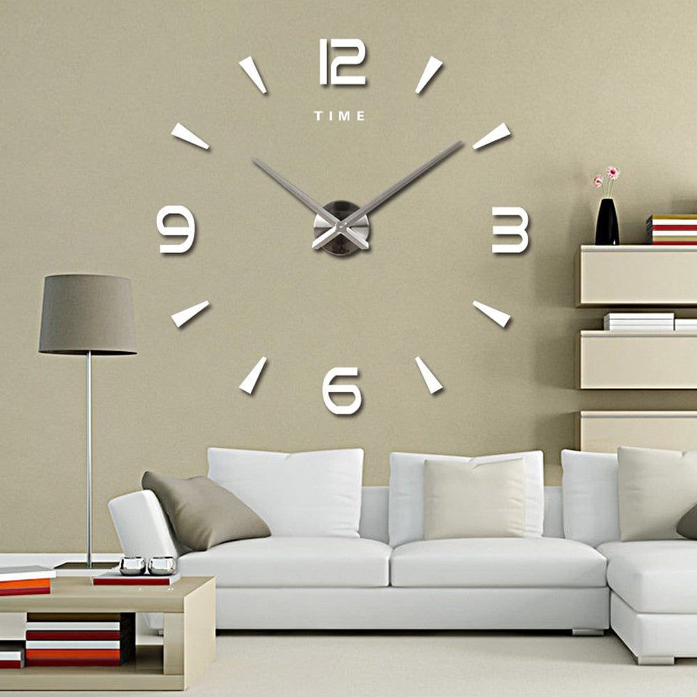 Large Wall Clock Quartz 3D DIY Big Decorative Kitchen Clocks Acrylic Mirror Stickers