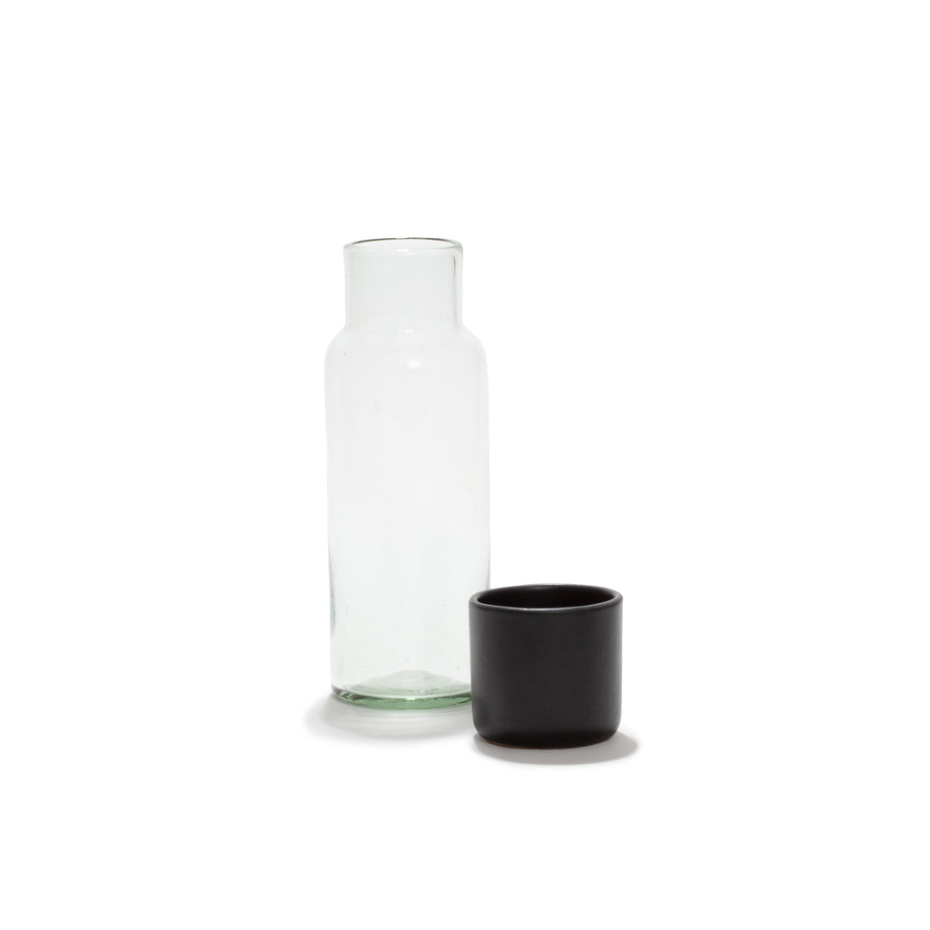 WATER CARAFE AND BLACK TUMBLER