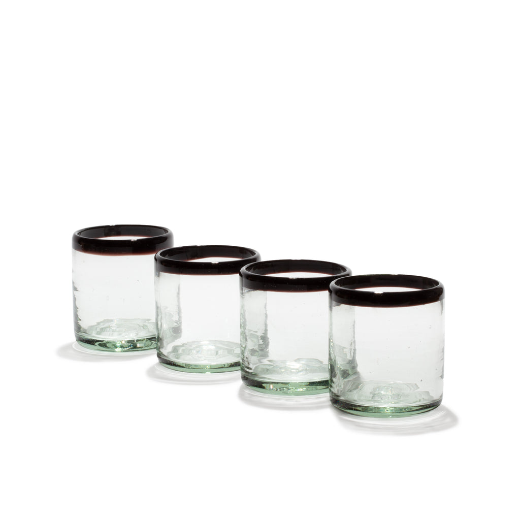 SET OF FOUR BLACK-EDGE TUMBLERS