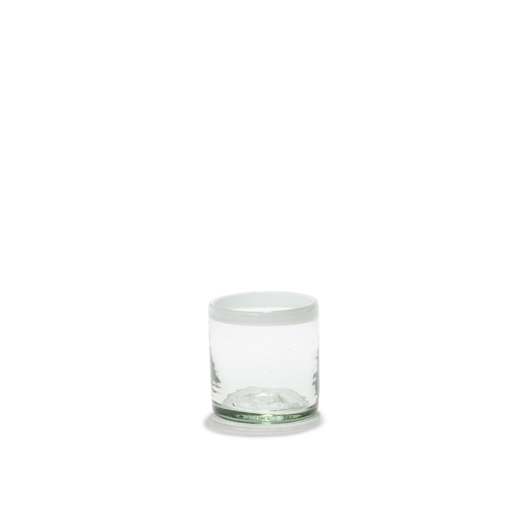 SET OF FOUR WHITE-EDGE TUMBLERS