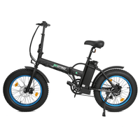 ECOTRIC 48V Fat Tire Portable & Folding Electric Bike with LCD Display - Black and Blue ECOTRIC