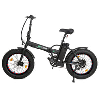 ECOTRIC 48V Fat Tire Portable & Folding Electric Bike with LCD Display - Matte Black ECOTRIC