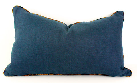 Indigo linen batik pillow