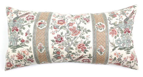 Antique French chinoiserie pillow