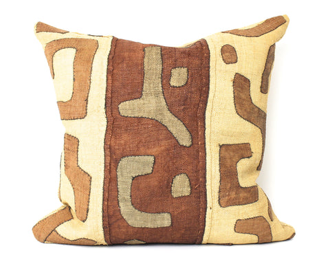 Vintage African raffia kuba cloth pillow