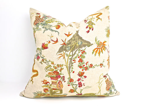 Chinoiserie toile pillow England