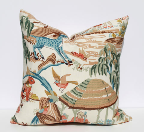 Chinoiserie toile pillow