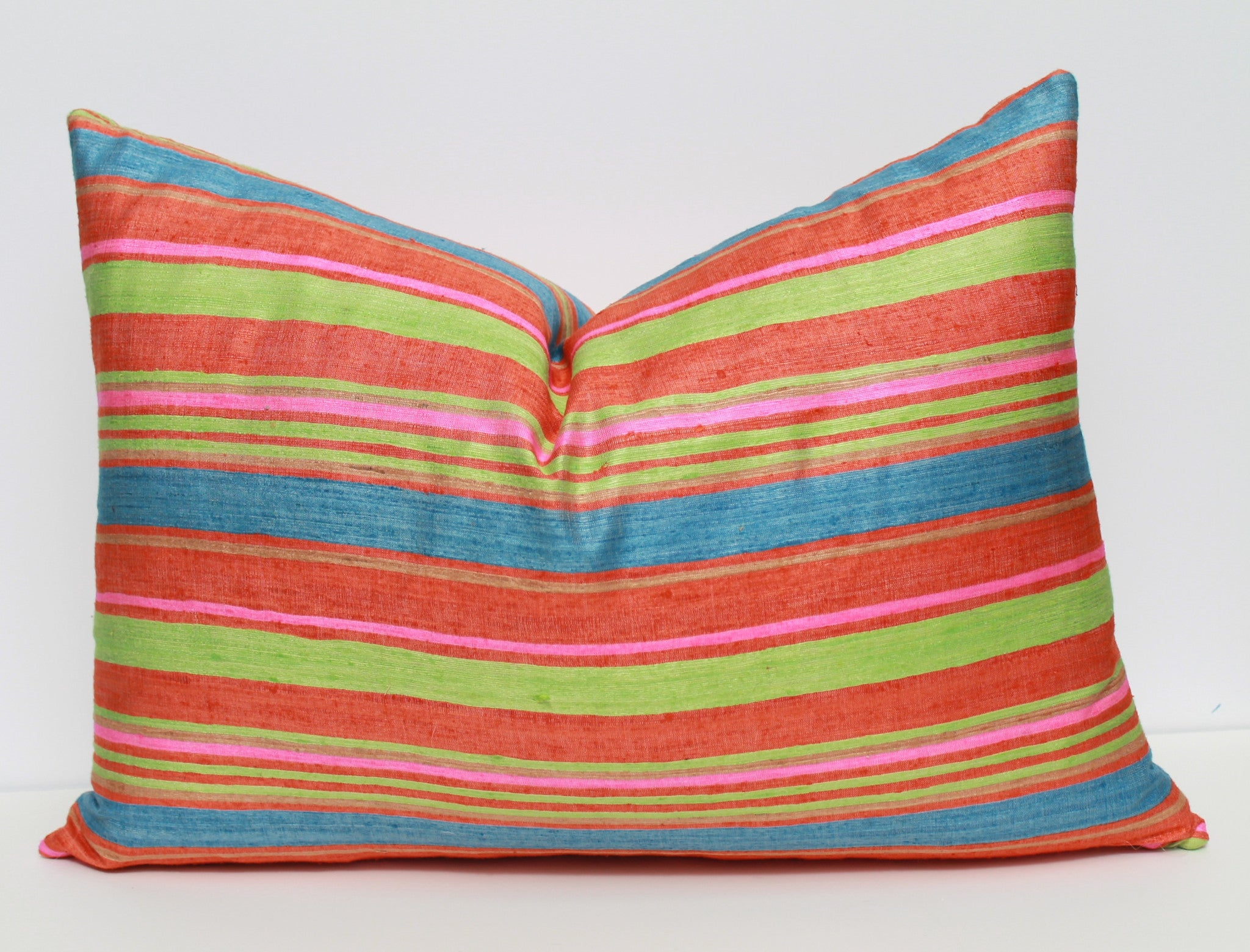 Striped silk pillow