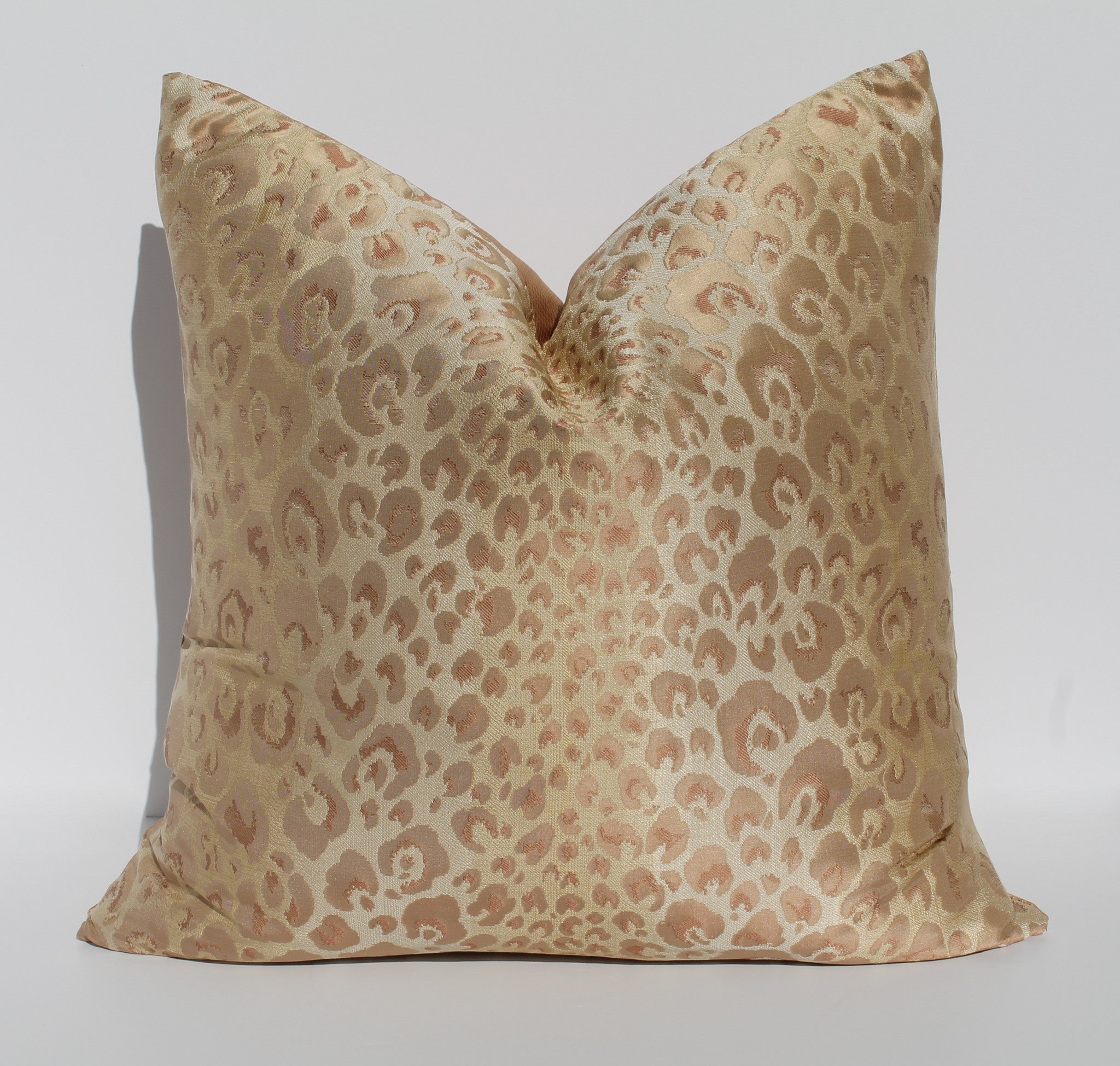 leopard silk pillow blush pink