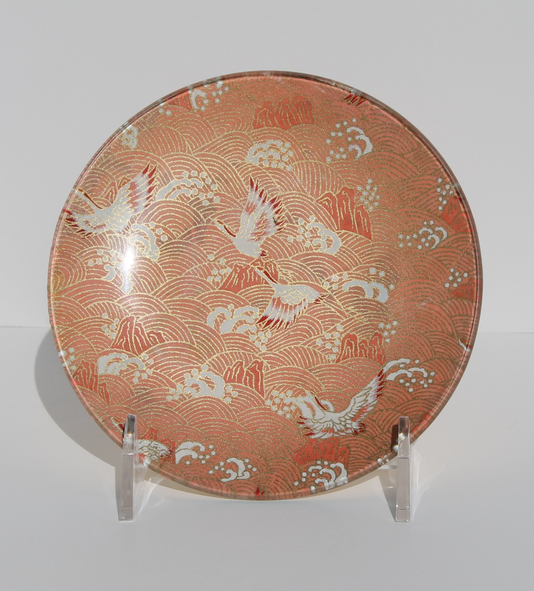Japanese cranes decoupage glass plate pink