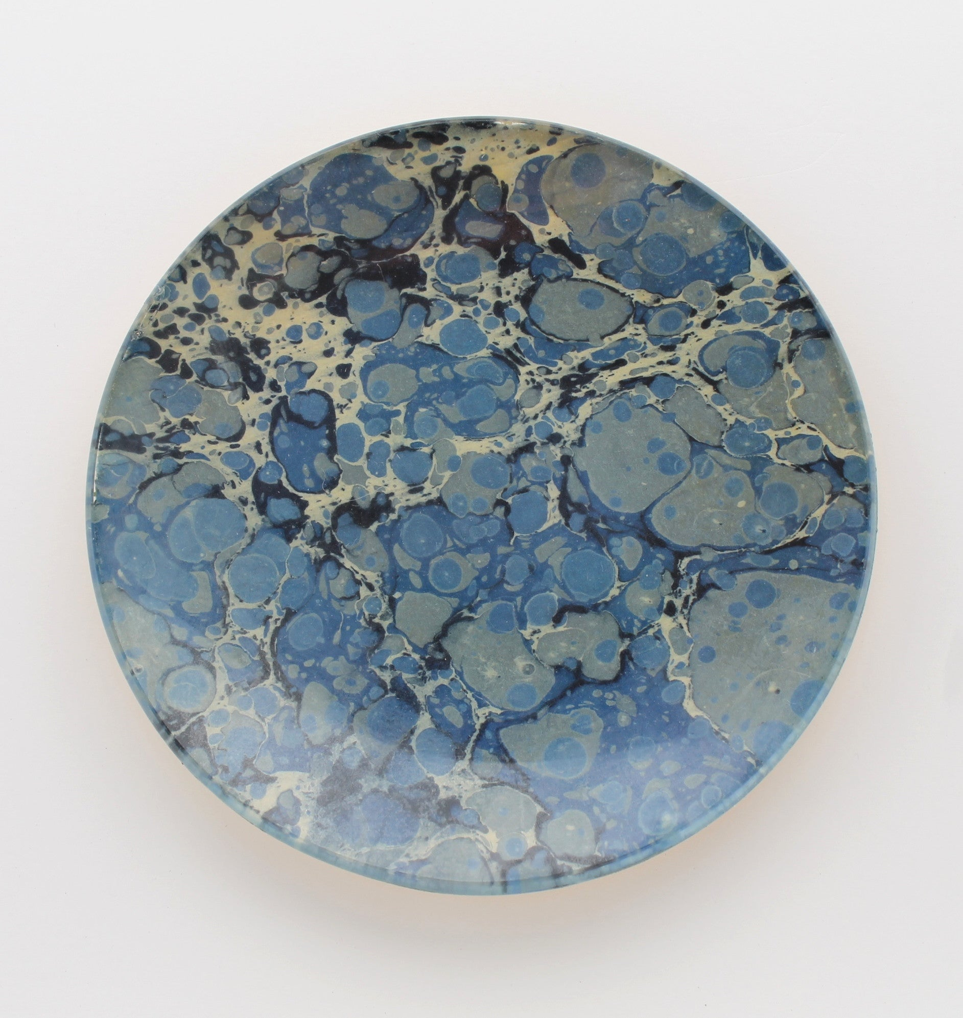 blue marbled decoupage plate