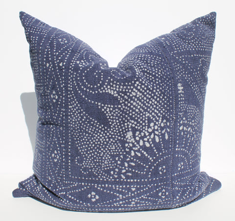 Chinese batik pillow indigo