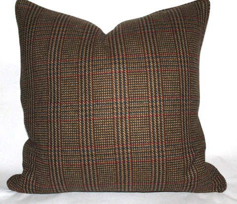 brown wool plaid pillow