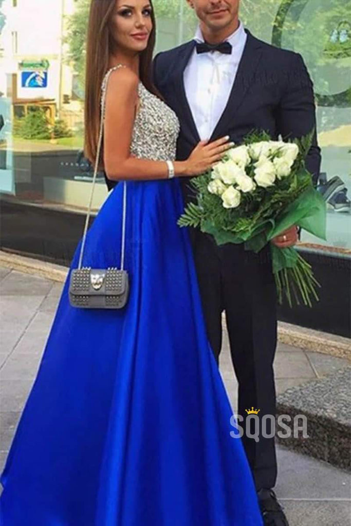 Royal Blue Satin V Neck Beaded Bodice A-Line Long Prom Dresses QP0821|SQOSA