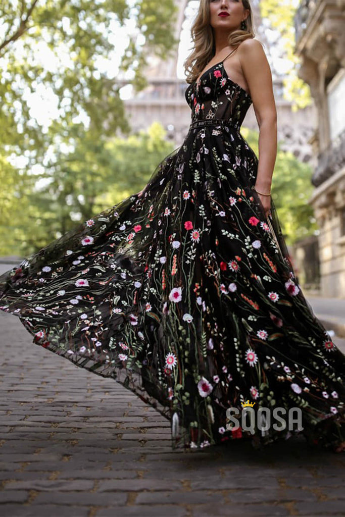 Unique Floral Black Lace Spaghetti Straps A-Line Prom Party Dress QP0825|SQOSA