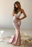 Trumpet/Mermaid V Neck Spaghetti Straps Appliques Prom Party Dress Backless QP0831|SQOSA