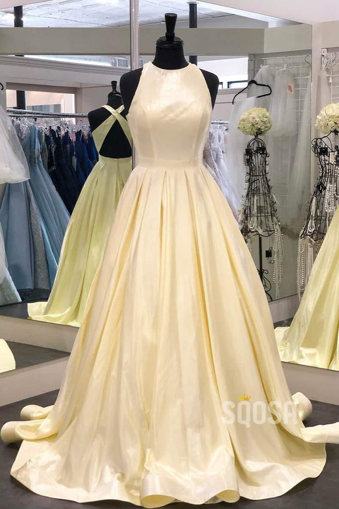 A-Line Bateau Sleeveless Simple 2020 Prom Dress with Pockets QP0823|SQOSA