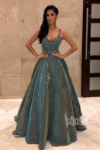 Spaghetti Straps V Neck A-Line Prom Dress Glitter Pargeant Dress QP0879|SQOSA