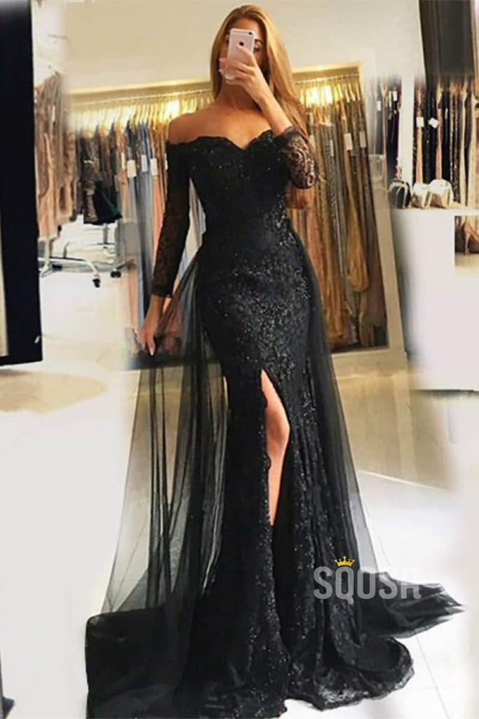 Mermaid Off-the-Shoulder Long Sleeve Lace Prom Evening Dress with Slit QP0832|SQOSA