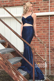 Mermaid Prom Dress Spaghetti Straps Royal Blue Two Piece Prom Gowns QP1133