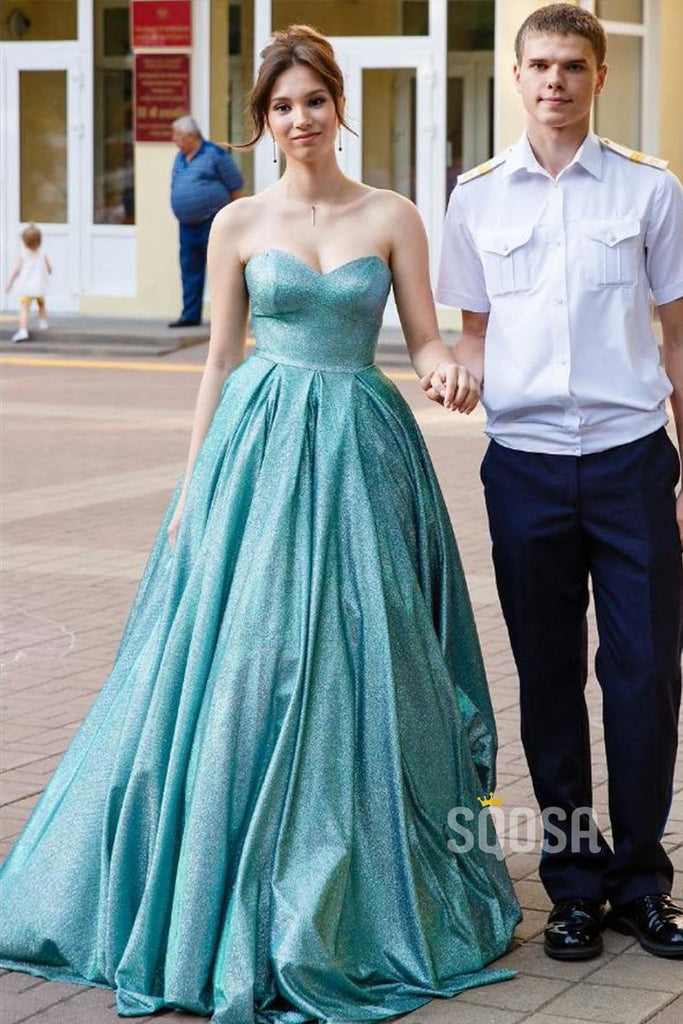 Sweetheart Ball Gown Blue Long Prom Dress Glitter Formal Evening Gowns QP0907|SQOSA