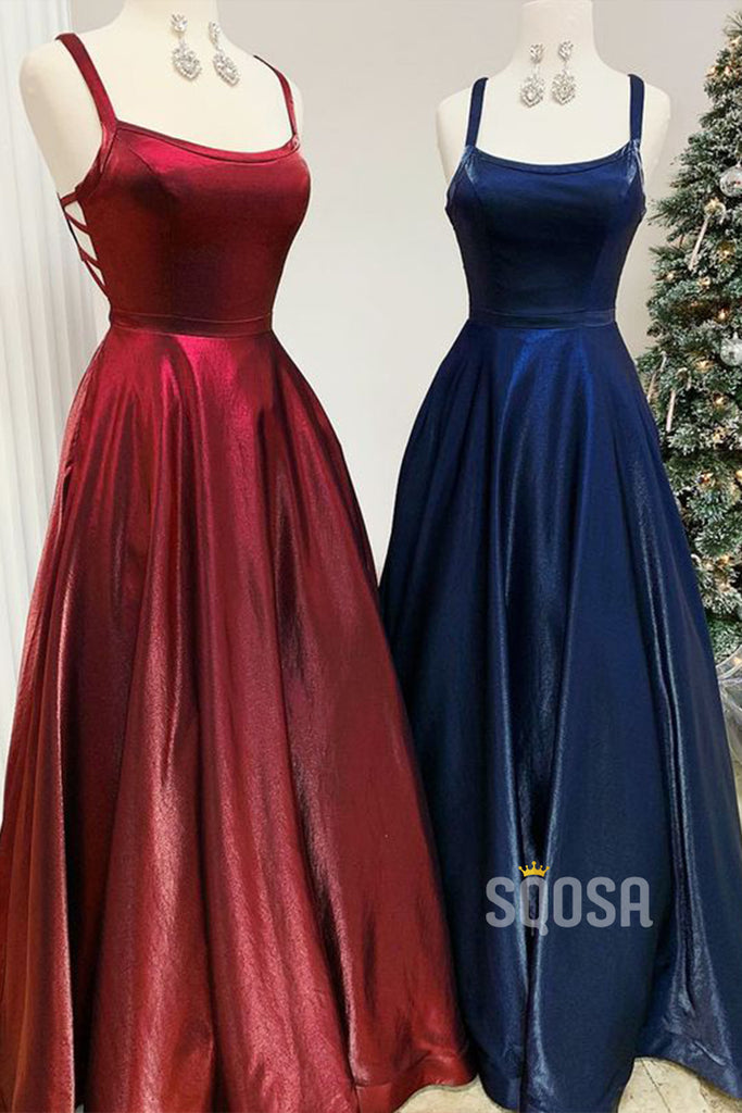 Burgundy Satin Scooop Spaghetti Straps A-Line Long Simple Prom Dress with Pockets QP0902|SQOSA