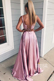 Double Straps Lace Top Burgundy Satin Two Piece Prom Dress with Pockets QH0900|SQOSA