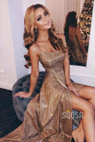 Spaghetti Straps Scoop Gold Sequins A-Line Long Prom Dress with Slit QP0904|SQOSA