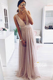 A-Line Deep V-neck Tulle Beaded Long Prom Dress Formal Evening Gowns QP1144|SQOSA