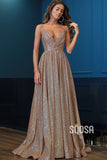 A-Line V-neck Spaghetti Straps Long Sparkle Prom Dress with Slit QP1263