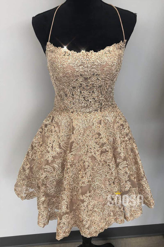 Criss Cross Straps Lace A-Line Cute Homecoming Dress QH0821|SQOSA