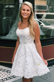 Criss Cross Straps Lace A-Line Cute Homecoming Dress QH0821